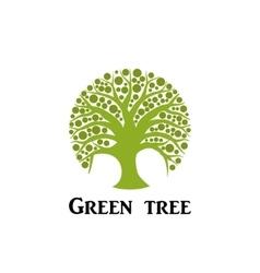 Green tree circle icon vector