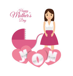 Happy mothers day mom with baby carriage hearts vector