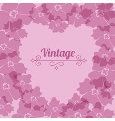 Heart form vintage flower frame vector image vector image