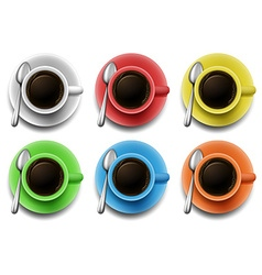 Hot coffee in different color mug vector image