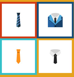 Icon flat necktie set of cravat suit clothing vector
