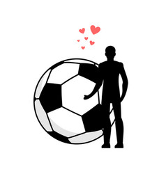 lover soccer man and football ball love sport vector image vector image