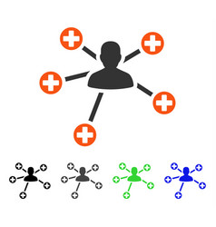 Medical patient connections flat icon vector