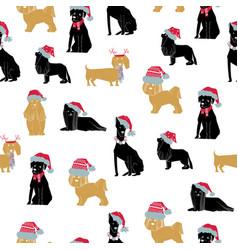 Merry christmas dog seamless vector