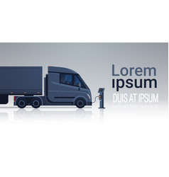 Modern semi truck with trailer charging at electic vector