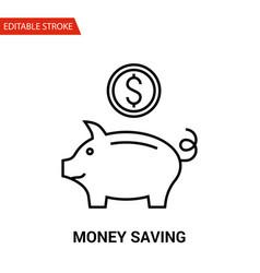 money saving icon thin line vector image vector image