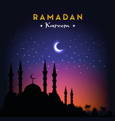 ramadan kareem greeting card with mosque and night vector image vector image