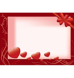 red card with hearts and flora vector image vector image