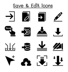 save edit data icon set vector image