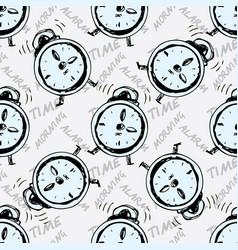 seamless pattern alarm clock vector image
