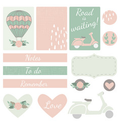 Set of cards hearts and stickers with airballoon vector