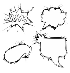 Set of chat ink grunge bubbles vector image vector image