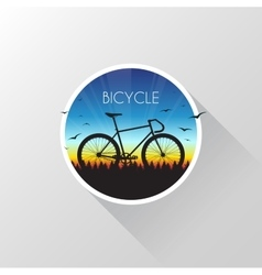 Silhouette of bicycle on nature at sunset vector