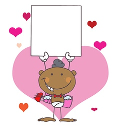 Stick African American Cupid with Banner vector image vector image