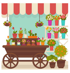 Trade tent with beautiful flowers in pots vector