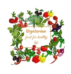Vegetarian food drawn vegetables on a white vector