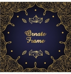Vintage ornate card golden eastern floral decor vector