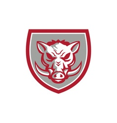 Wild boar razorback head angry shield retro vector