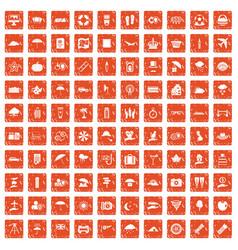 100 umbrella icons set grunge orange vector