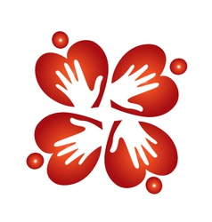 Teamwork hearts and hands logo vector image