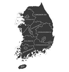 South korea labelled black vector
