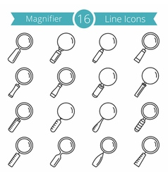 16 magnifying glass line icons vector
