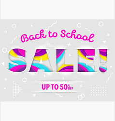 Back to school sale banner on isolated background vector