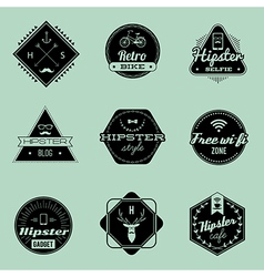 Hipster emblems green vector
