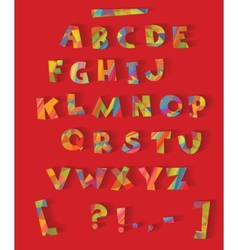 Color alphabet with the effect of cutting paper vector