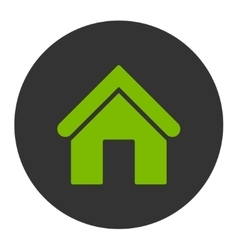 Home flat eco green and gray colors round button vector