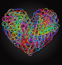 colorful paper clips in heart shape vector image