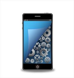 Smartphone with gears vector