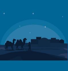 Arab town at night vector