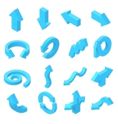 Arrows icons set in isometric 3d style vector image vector image