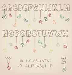 be my valentine alphabet vector image