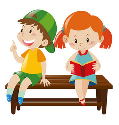 boy and girl on bench vector image