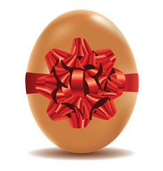 Brown Egg with Bow vector image vector image