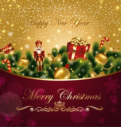 christmas card with fir and gifts vector image vector image