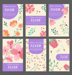 collection of flyers templates with floral vector image vector image