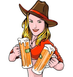 Cowgirl With Beer vector image vector image