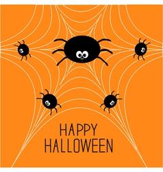 Cute cartoon spider family on the web halloween vector