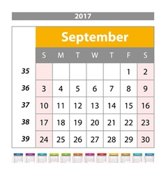 Desk Calendar for 2017 Year September Design Print vector image vector image