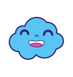 Full color happy and cute cloud kawaii weather vector