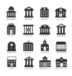 Government building icon set buildings like vector image