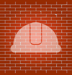 Hardhat sign whitish icon on brick wall vector