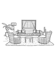 Interior room sketch vector image