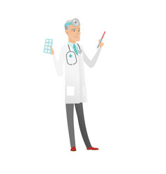 Otolaryngologist holding thermometer and pills vector