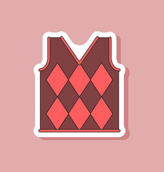 paper sticker on stylish background golf vest vector image vector image