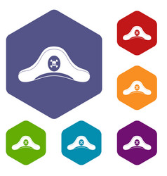 pirate hat icons set hexagon vector image