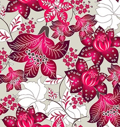 Red tropical floral pattern vector